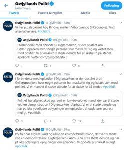 تغريدات شرطة شرق يولاند عبر حسابها الرسمي على تويتر